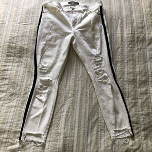 Express Mid Rise Side Stripe Ripped Cropped Jeans